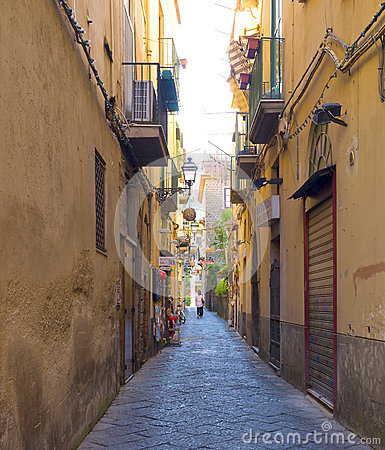 Narrow Colorful Street, Sorrento Italy Editorial Image