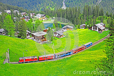 Narrow gauge railway. Switzerland.