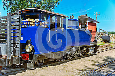 Narrow gauge steam locomotive. Editorial Stock Image