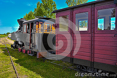 Narrow gauge steam train. Editorial Stock Photo