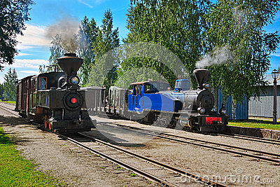 Narrow gauge steam trains. Editorial Photography