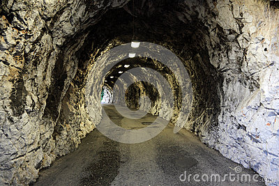 Narrow illuminated tunnel