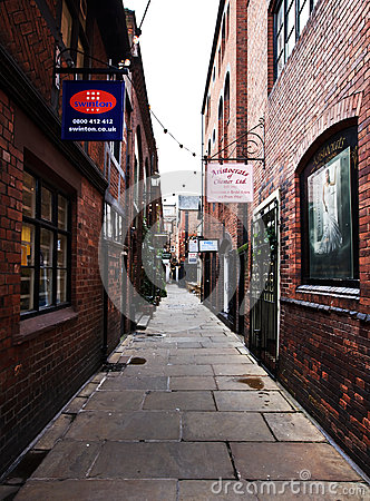 Narrow lane in Chester town, UK Editorial Photo