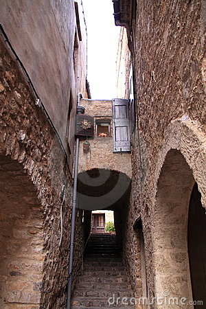 Narrow medieval stone street in france