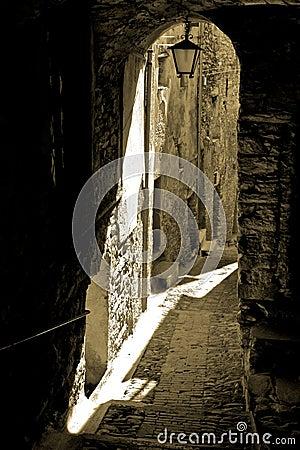Narrow passage in Liguria, Italy