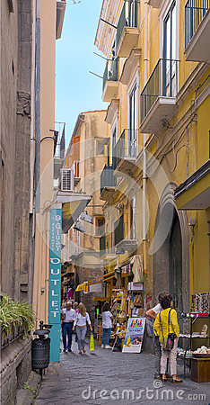 Narrow Shopping Street, Sorrento Italy Editorial Stock Image
