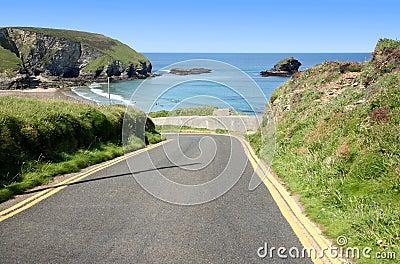 Narrow steep road to Portreath