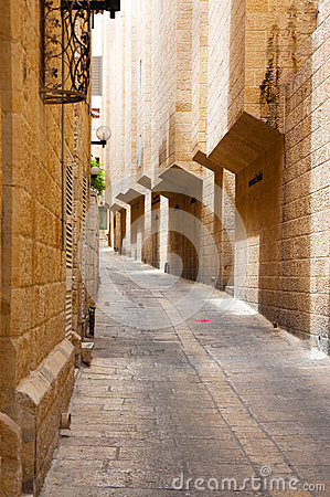 Narrow stone streets of  Jerusalem, Israel