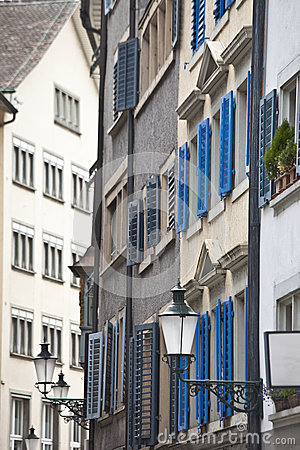Narrow street of downtown Zurich