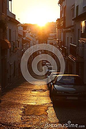 Narrow street in Estepona, Spain