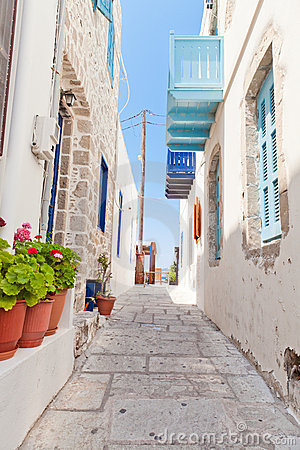 Narrow street in greek style