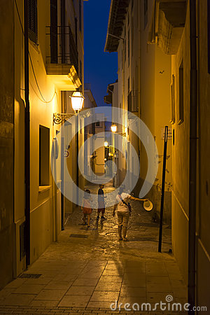 Free Narrow Street In Palma De Mallorca At Night Royalty Free Stock Photography - 44742177