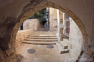 The narrow street in the Jewish Quarter of Jerusal