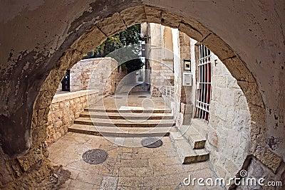 The narrow street in the Jewish Quarter of Jerusal