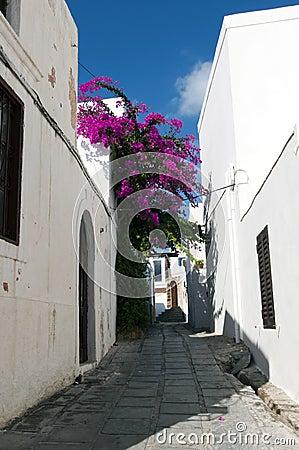 Narrow street in Lindos