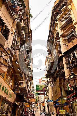 Narrow street in Macau, China Editorial Photo