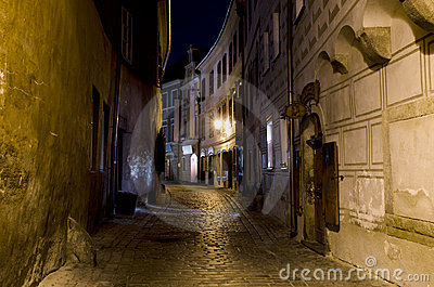 Narrow street at night, Cesky Krumlov