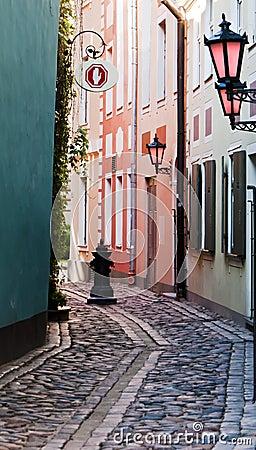 Narrow street in old Riga city, Latvia