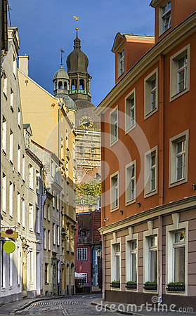 Narrow street in old Riga, Latvia