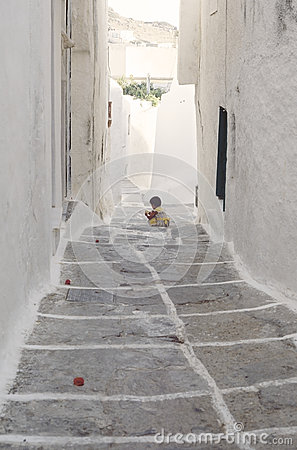 Narrow street in Parikia, Cyclades Editorial Photography