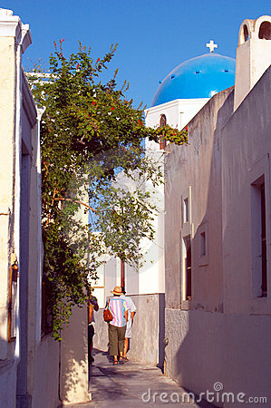 Narrow street Santorini Greece