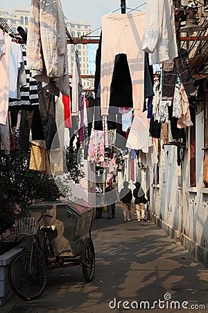Narrow street in Shanghai, China Editorial Photo
