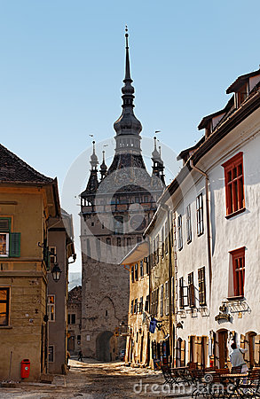 Narrow street in Sighisoara Editorial Photo