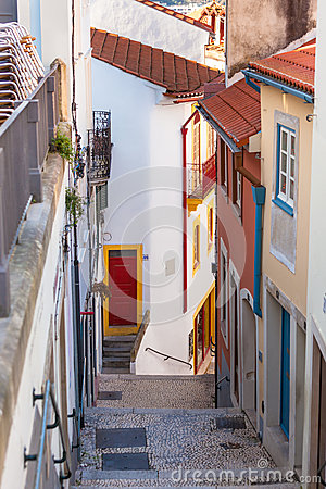 Narrow Street with Stairs in Old Town, Coimbra