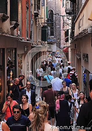 Narrow street in Venice Editorial Photography
