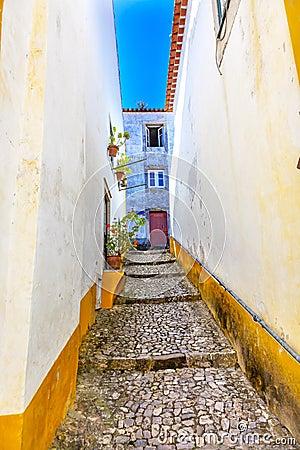 Free Narrow White Yellow Street Medieval City Obidos Portugal Royalty Free Stock Photography - 76957167