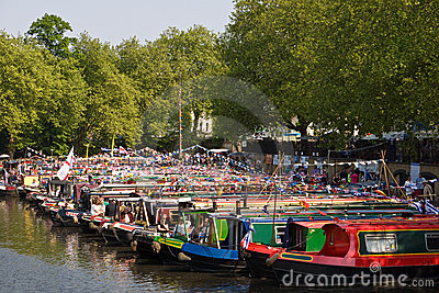 Narrowboats at Canalway Cavalcade Editorial Photo