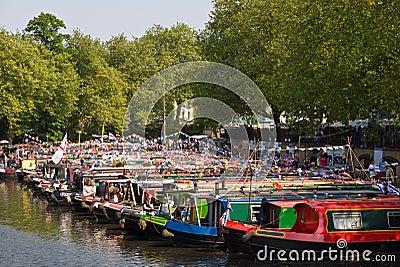 Narrowboats at Canalway Cavalcade Editorial Photo