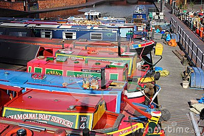 Narrowboats in England Editorial Photo