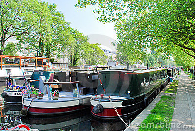 Narrowboats moored in Little Venice, Paddington Editorial Stock Image