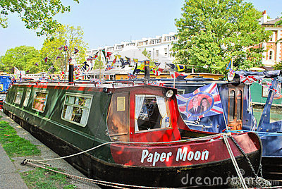 Narrowboats moored in Little Venice, Paddington Editorial Image