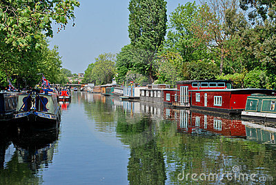 Narrowboats moored in Little Venice, Paddington Editorial Photo