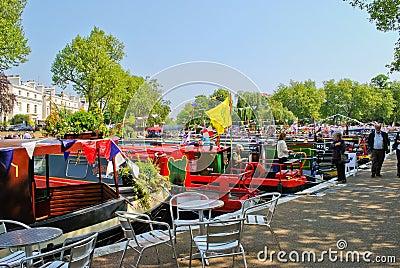 Narrowboats moored in Little Venice, Paddington Editorial Stock Image