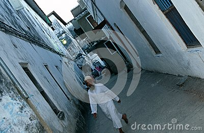 A narrown Stone Town street, Zanzibar Editorial Image