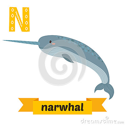 Funny Narwhal Cartoon Narwhal. N Letter. Cut...
