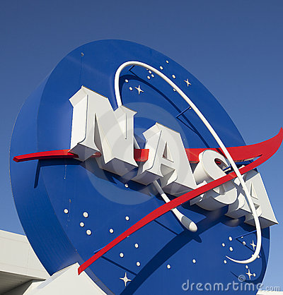 NASA Logo Signage at Kennedy Space Center Editorial Stock Photo