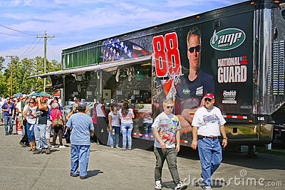 NASCAR - Fans at Earnhardt s Mechandise Hauler Editorial Stock Photo