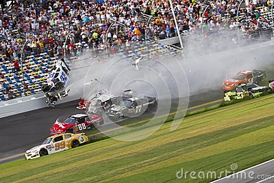 NASCAR: Kyle Larson wrecks at daytona Editorial Image