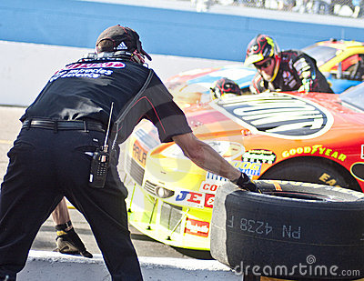 NASCAR s Jeff Gordon s pit stop on pit lane Editorial Image