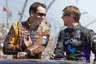 NASCAR s Kyle Busch and Denny Hamlin Editorial Stock Photo