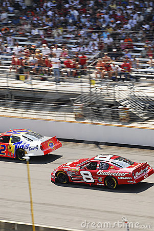 NASCAR vehicles and stadium Editorial Photo