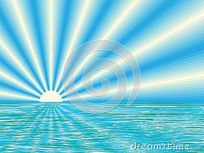 Nascer do sol acima do mar calmo
