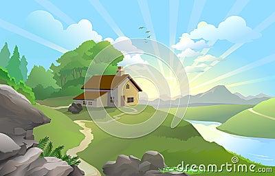 Nascer do sol em uma terra feericamente