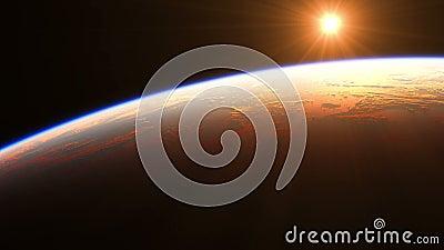 Nascer do sol sobre a terra Vista de surpresa da terra do planeta do espa?o Anima??o 3D real?stica Defini??o ultra alta 4K ilustração stock