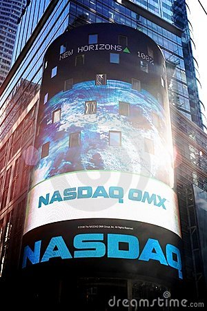 Nasdaq corner, Times Square, New York Editorial Photo