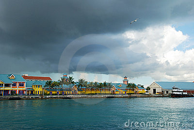 City cruise ship terminal in early cloudy morning the bahamas